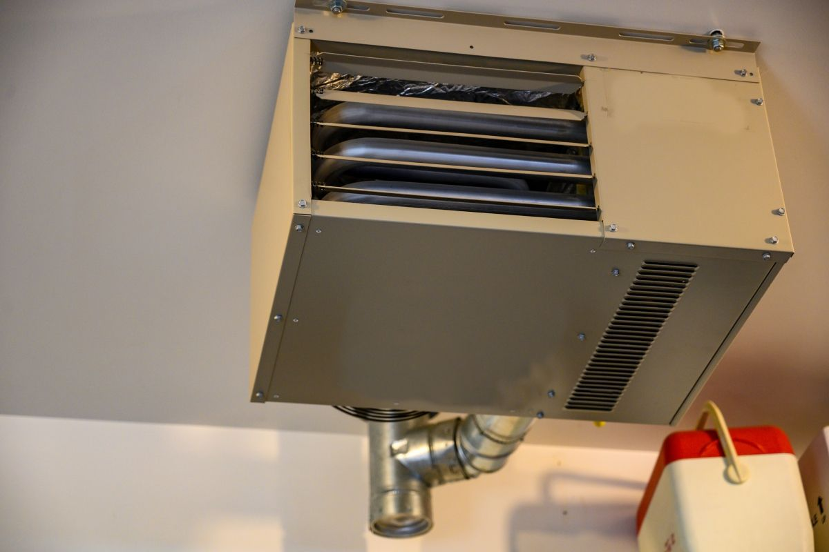 View of ceiling mounted heaters